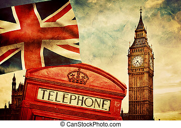 Symbols of London, England, the UK. Red phone booth, Big Ben, the Union Jack flag
