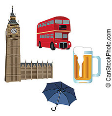 Symbols of London - Illustration of Big Ben tower, London ...