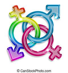 symbols of male, female and transgender on white background