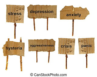 symbols of mental disorders on cardboard, isolated on a...