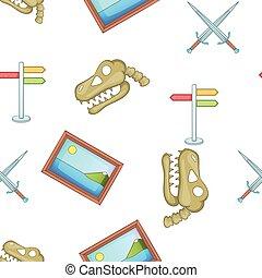 Symbols of museum pattern, cartoon style