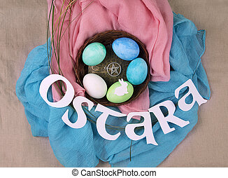 Symbols of Ostara sabbath celebration