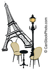 Eiffel tower, street lights and cafe