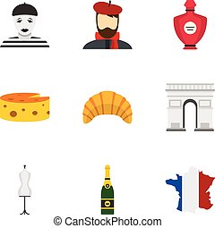 Symbols of Paris icons set, flat style