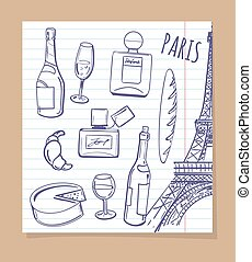 Symbols of Paris sketch icons