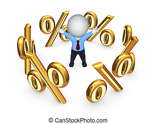 Symbols of percents around happy 3d small person.