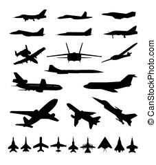 Symbols of planes - Symbols planes different types on white...