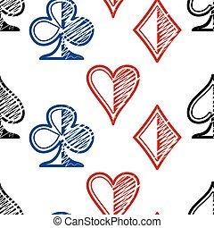 Symbols of playing cards on a white background. Seamless pattern.