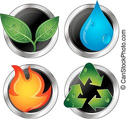 Symbols of renewable energy and recycling