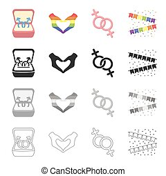 Symbols of same-sex love, heart, hand gesture, colorful flags. Sexual minority set collection icons in cartoon black monochrome outline style vector symbol stock illustration web.