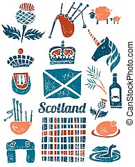 Symbols of Scotland set in lino style
