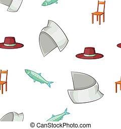 Symbols of Sweden pattern, cartoon style