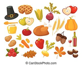 Symbols of thanksgiving day and family traditions elements for holiday design isolated on white background. Retro cartoon style vector illustration
