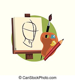 Symbols of the artist profession, artists supplies cartoon...