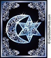 Symbols of the three religions - Judaism, Christianity, Islam. vector illustration