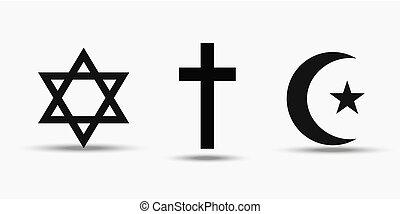Symbols of the three world religions - Judaism, Christianity and Islam.