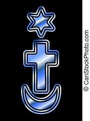 Symbols of the three world religions Judaism, Christianity, Islam. vector illustration