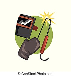 Symbols of the welder profession, welding machine and mask cartoon vector Illustration