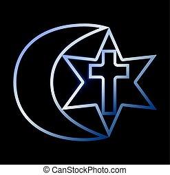 Symbols of three religions, vector illustration
