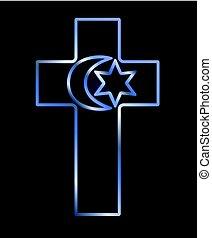 Symbols of three world religions, vector illustration