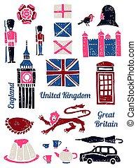Symbols of UK set in lino style