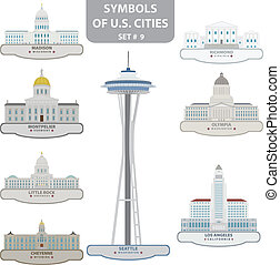 Symbols of US cities. Set 9. Vector for you design