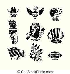 Symbols of USA set, American Independence Day retro hand drawn design elements vector Illustration on a white background