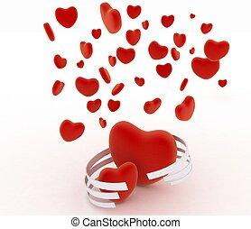 Symbols of valentines day.  Hearts on  white background