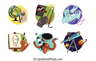 Symbols of Various Professions Collection, Ballerina, Teacher, Welder, Artist, Policeman, Astronomer Signs Vector Illustration on White Background
