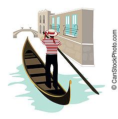 Venice canal view with a gondolier on his gondola