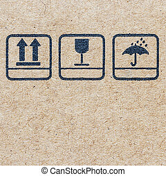 symbols on Cardboard , logo on recycled paper background