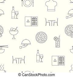 symbols., restauracja, próbka, seamless, wektor, kreska