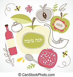 symbols., rosh, hebreo, hashanah, tradicional, holiday.,...