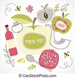 symbols., rosh, izraelita, hashanah, tradycyjny, holiday.,...