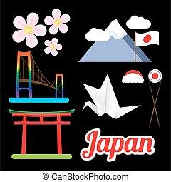 symbols., sæt, betydeligste, japan