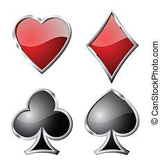 symbols., satz, spielen karte