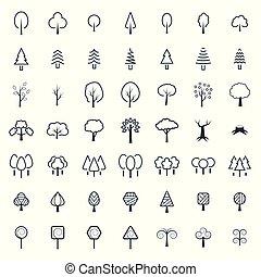 symbols., set, boompje, vector, dune lijn, style., pictogram