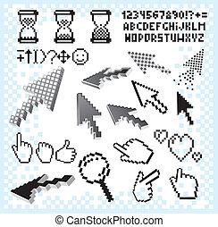 symbols., set, immagine, vettore, pixel, elementi