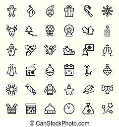 symbols., set, kerstmis, vector, dune lijn, style., pictogram