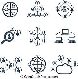 symbols., set, rete, icone, persone, vettore, sociale