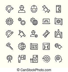 symbols., set, techniek, vector, dune lijn, productiewerk, style., pictogram
