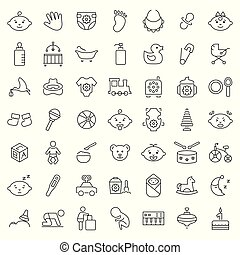 symbols., set, vector, mager, baby, lijn, style., pictogram
