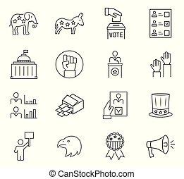 symbols., set, vector, mager, stem, lijn, style., pictogram