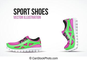 symbols., shoes., executando, dois, luminoso, sneakers, fundo, desporto