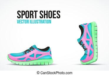 symbols., shoes., rennender , zwei, hell, turnschuhe,...