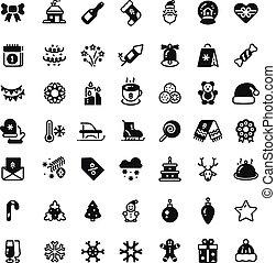 symbols., silhouette, inverno, icone, isolato, natale, vettore, nero, vacanza, natale