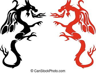 Symbols, Silhouette of a fighting dragon (red, black), sharp tail, on white background,