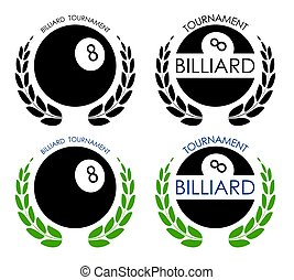 symbols sport ball for billiard on white background with winner laurel wreath. Pool and snooker competition. Isolated vector