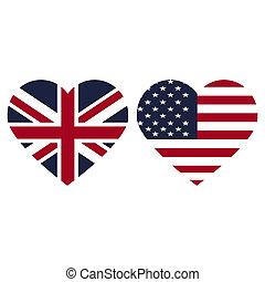 Symbols United Kingdon and United States heart flag