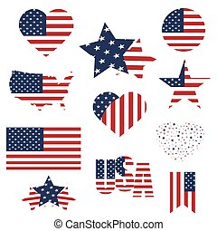 Symbols United States framed in different forms of the flag background